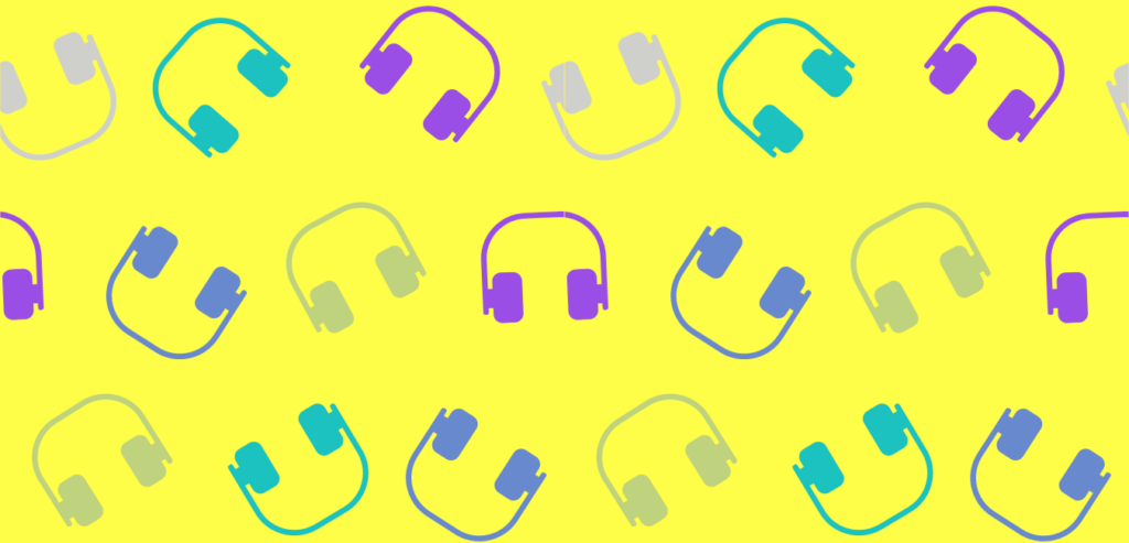 Yellow background wilight blue, blue, purple, and beige headphones scattered around